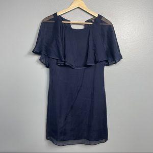 GINGER & SMART | silk dress navy cape sheer US4